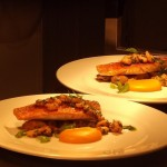 Fillets of Cornish red mullet, Cep gnocchi, baked onion squash, garlic Mylor prawns, parsley dressing.